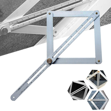 Aluminium Alloy Miter Angle Measuring Ruler Multi Angle Measuring Tool Universal Angle Ruler Template for Woodworking Tile binoax aluminum alloy four sided ruler measuring instrument template angle tool mechanism slides with laser engraving