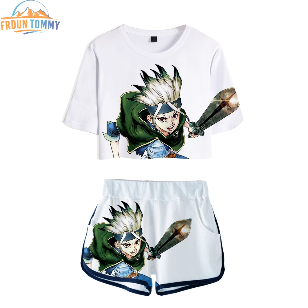 2019 New Style Dr.STONE 3D Printing Summer Sosy Sexy Two Pieces Sets Women Shorts/crop Tops Clothes 2019 Hot Sale Sale Kpop Sets