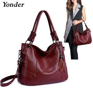 Image 1 - Yonder Большие женские сумки, кожаная сумка на плечо, Женская Большая вместительная Повседневная Сумка тоут, женские сумки высокого качества, сумки через плечо