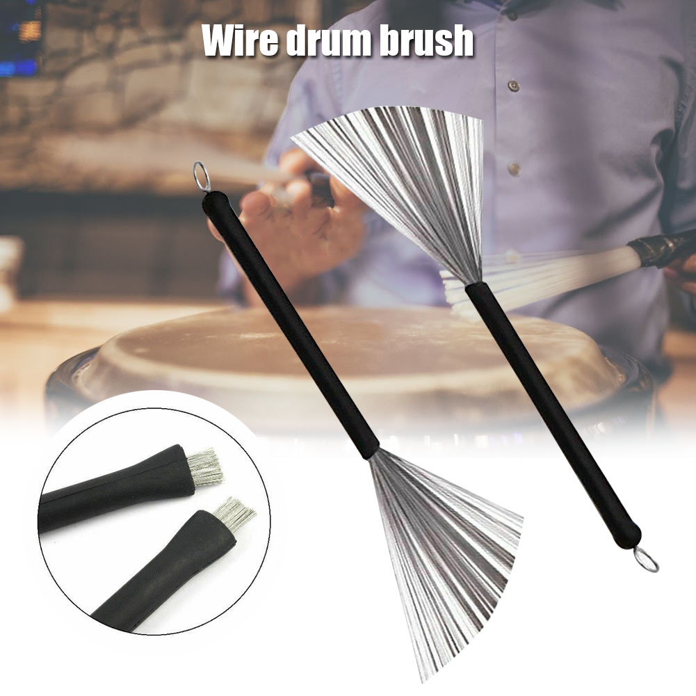 Metal Wire Drum Brushes Cleaning Tool Portable Jazz Musical Retractable Sticks N66