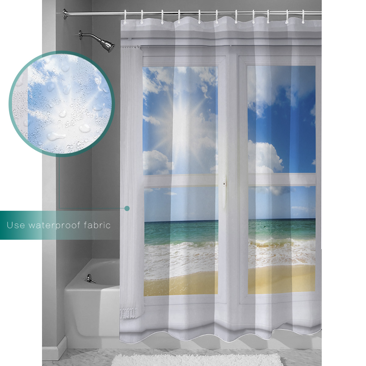 Dearhouse Shower Curtain Beach Window Summer Design Fabric