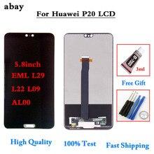 ЖК дисплей 5,8 дюйма для HUAWEI P20, дисплей с сенсорным экраном и дигитайзером в сборе, сменная деталь для HUAWEI P20, ЖК дисплей EML AL00 L22 L09 L29