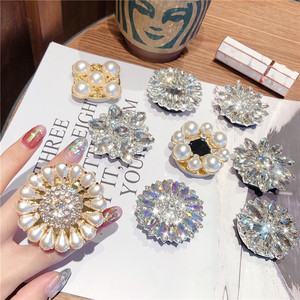 Universal Expanding Phone Stand Grip Finger Holder For iPhone 12 Pro 11 Huawei Samsung 3D Pearl Diamond Flower Support Telephone