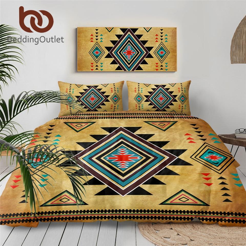 BeddingOutlet Geometric Bedding Set Queen Size Duvet Cover Southwest Bedclothes Aztec 3-Piece Microfiber Home Textiles Single