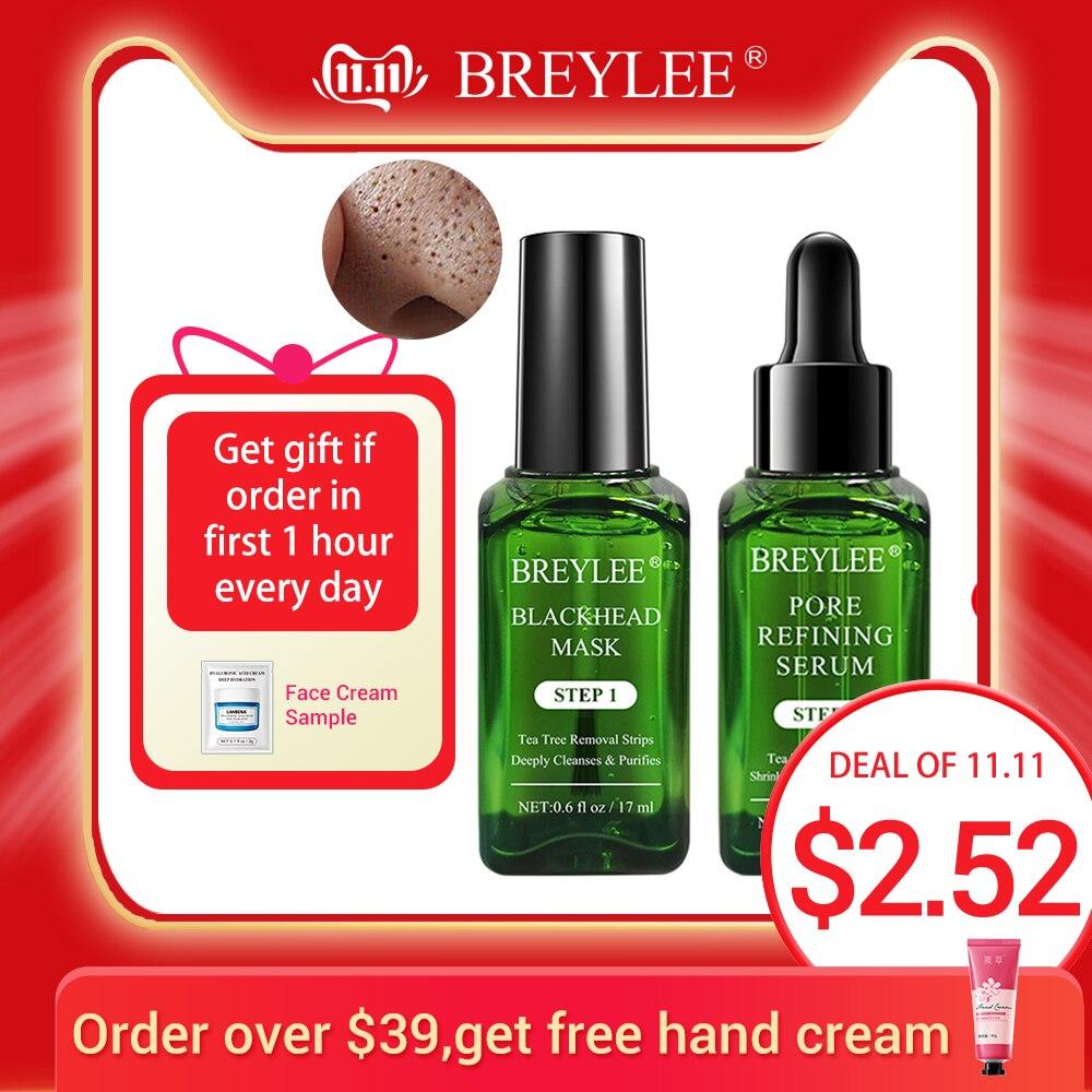BREYLEE Skin Care Black Mask Blackhead Remover Face Mask Acne Treatment Serum Shrinks Pore Essence Peeling Off Sheet Facial Mask