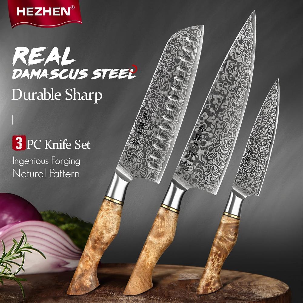 HEZHEN 3PC Knife Set Professional Damascus Super Steel Vg10 Chef Santoku Utility Cook Knife Japanese Sharp Kitchen Knife 1
