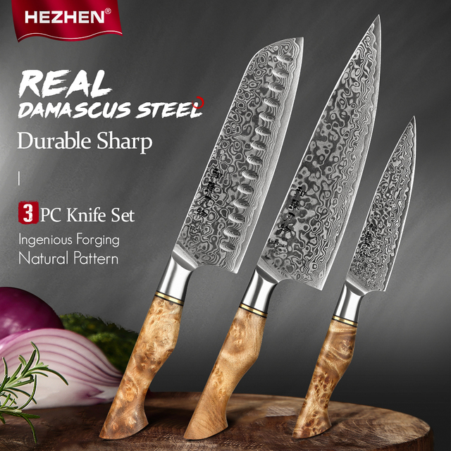 HEZHEN 3PC Knife Set Professional Damascus Super Steel Vg10 Chef Santoku Utility Cook Knife Japanese Sharp Kitchen Knife 1