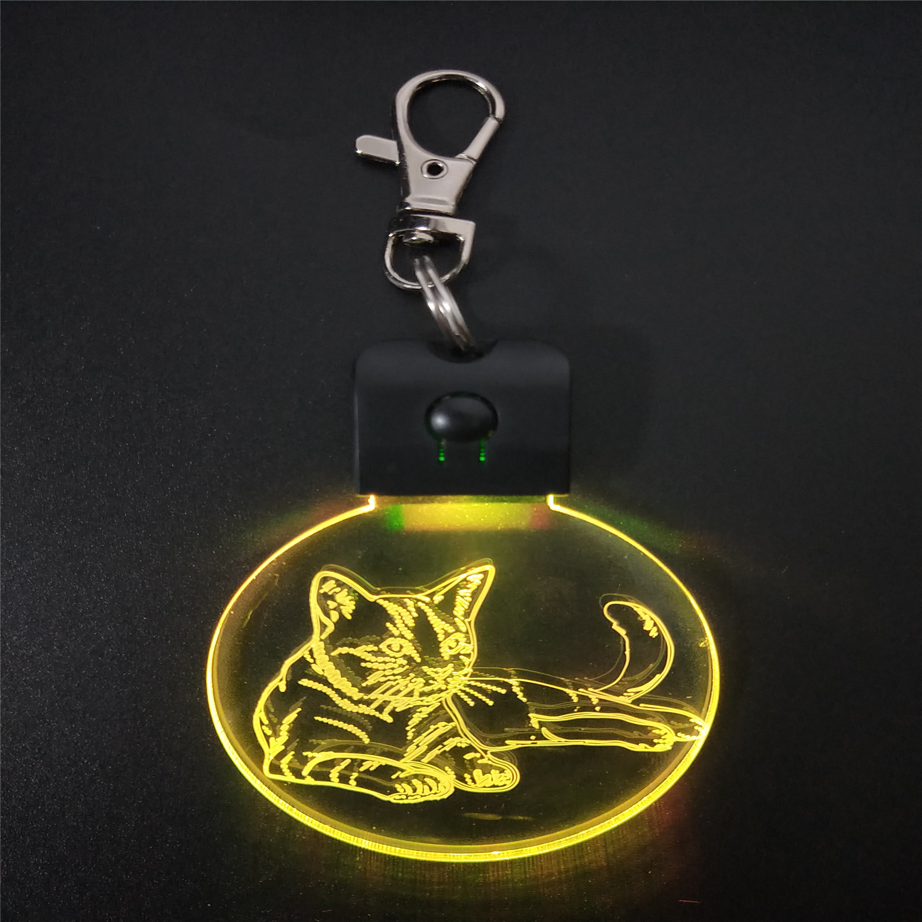 Sleeping Cat KeyChain 3D LED ABS Arylic Night Light Magical Table Lamp Lighting Colors Decoration Gift With Li Battery Dropship