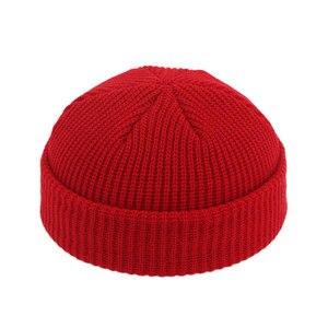Image 3 - Men Knitted Brimless Hats Hip Hop Beanie Skullcap Street Hat Women Men Acrylic Unisex Casual Solid Pumpkin Portable Melon Cap