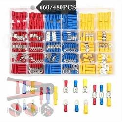 Kit d'assortiment de cosses de câbles 1200/660/480 pièces/ensemble durables, connecteurs plats de fil, bornes à sertir, fournitures d'équipements électriques de voiture