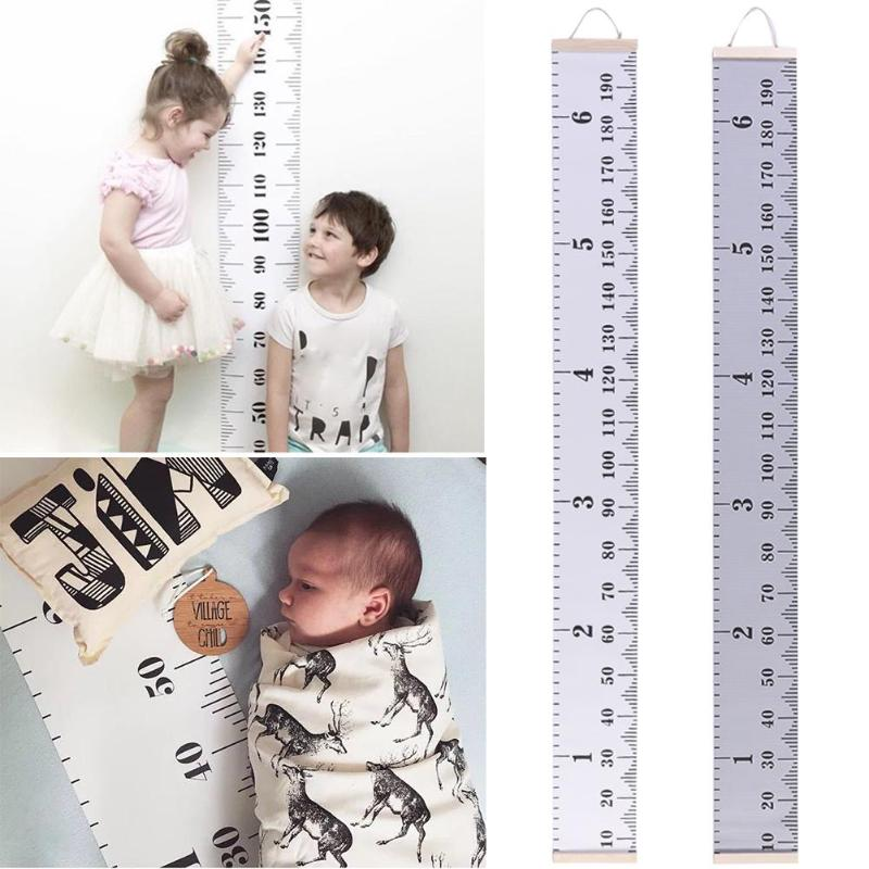 Waterproof Canvas Wall Sticker Cartoon Kids Height Chart Child Height Ruler Household Memorial Infant Growth Accessories