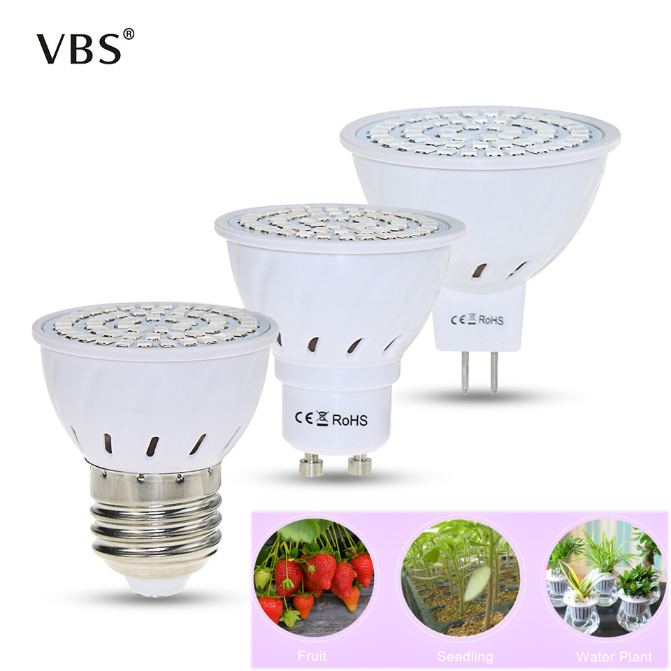 220V Led Hydroponic Growth Light E27 Led Grow Bulb GU10  Full Spectrum  UV Lamp  MR16 3W/ 4W/5W Plant Flower Seedling Fitolamp