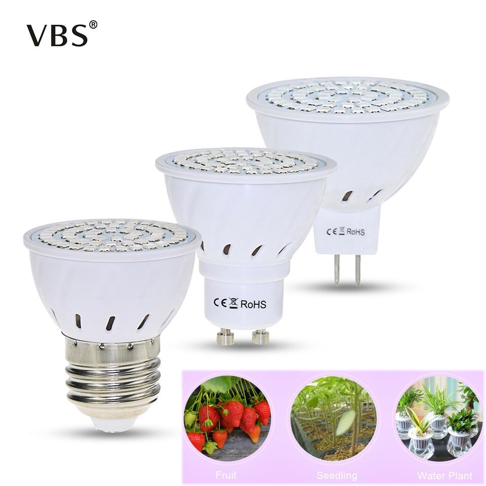 220V Led Hydroponic Growth Light E27 Led Grow Bulb GU10  Full Spectrum  UV Lamp  MR16 3W/ 4W/5W Plant Flower Seedling Fitolamp