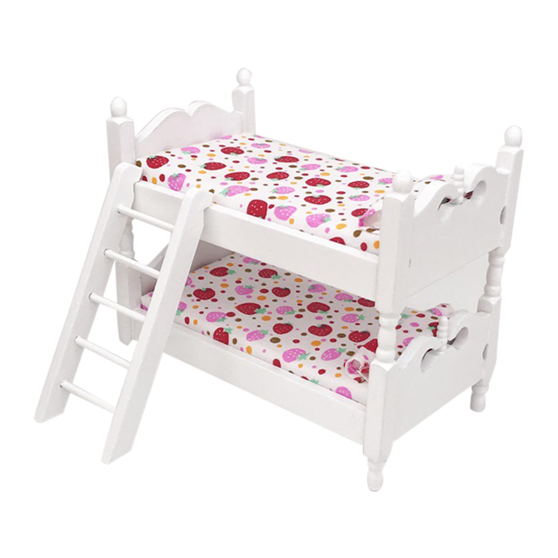 1/12 Scale Miniature Dollhouse Pocket Children Bedroom Bunk Bed Diy Assembly Model Dolls Houses Accessories - Strawberry