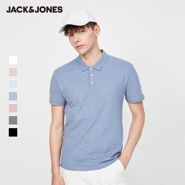 Jack Jones Men's Basic Solid Color Cotton Turn-down Collar Polo Shirt JackJones Menswear 220206532 2