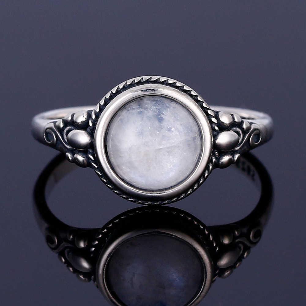 ผู้ชายและผู้หญิง 925 แหวนเงินแท้รอบ 8 มม.ธรรมชาติมูนสโตนแหวน Bohemian สไตล์งานแต่งงานงานแต่งงานของขวัญ
