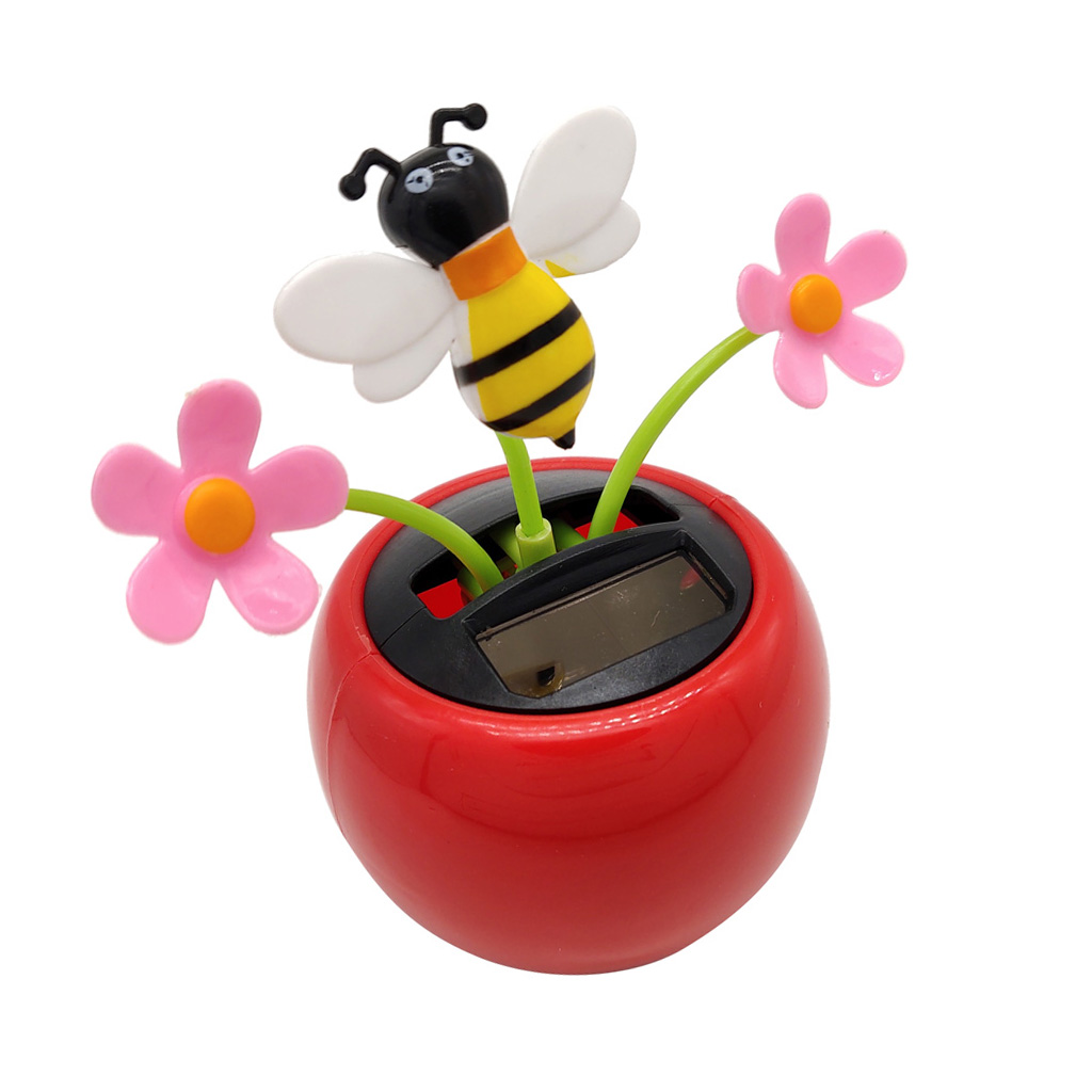 Solar Powered Shaking Plant Toy Home Car Decor - Flower & Honeybee