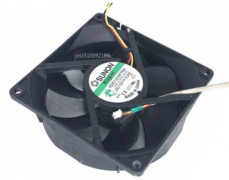 Free Shipping Original KDE1209PTBX DC12V 3.2W AR. GN 90*90*25MM 9CM Alarm Signal Projector Cooling Fan