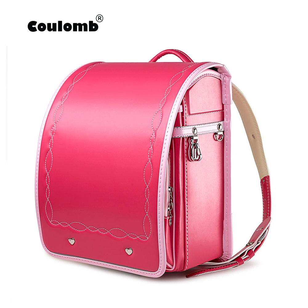 Coulomb Children's Backpacks For Girls Basic Style Cost-effective School Bags For Kids Orthopedic Japanese PU Randoseru Bags