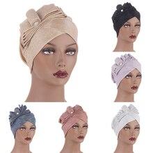 Женский элегантный высокий эластичность тюрбан мягкий удобный шарф шапка цветок квадрат шарф мода приятный для кожи повязка на голову украшение