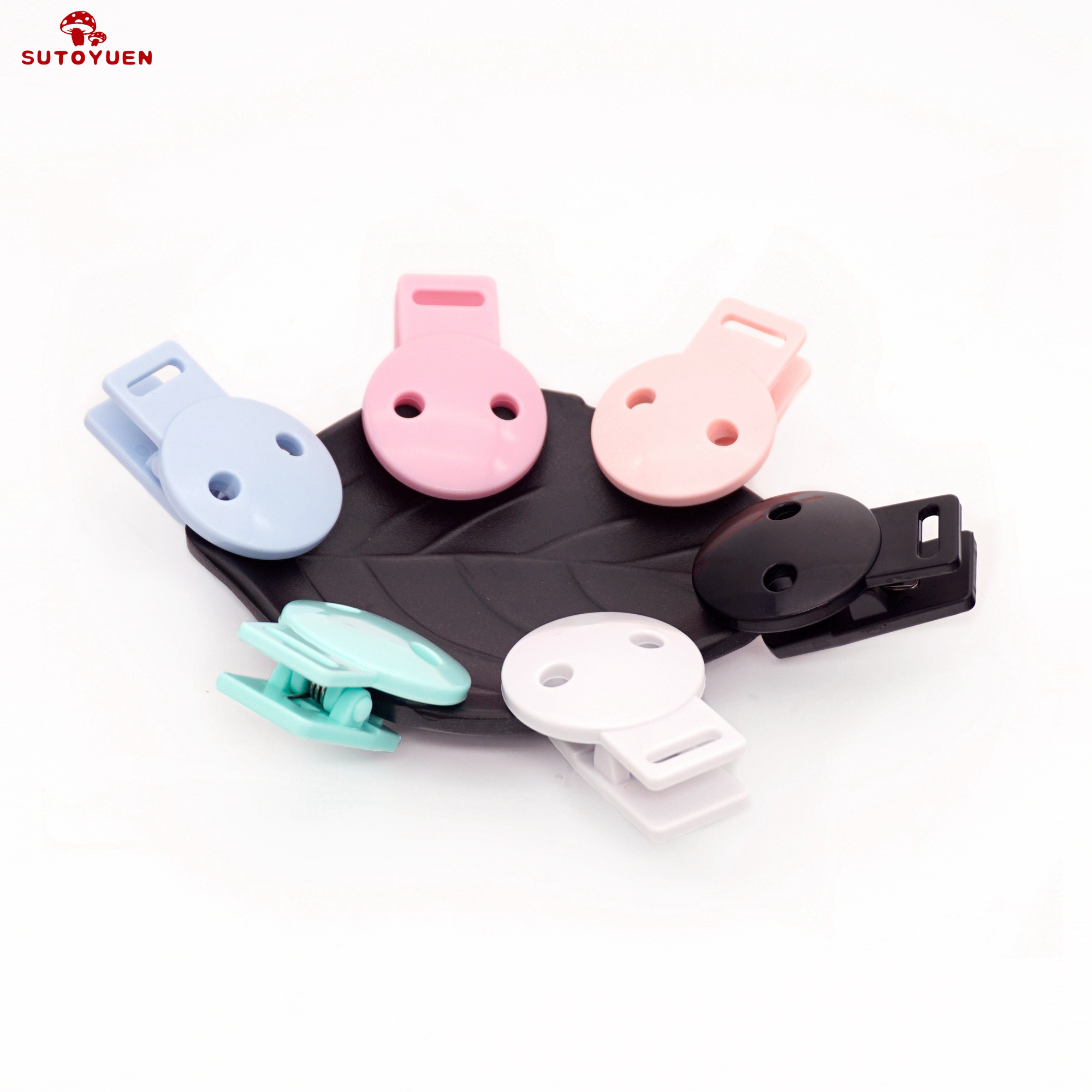 Sutoyuen 50pcs Baby Round Head Pacifier Clips Infant Safe Dummy Soother Clip DIY Plastic Pacifier Holder Teether Accessories