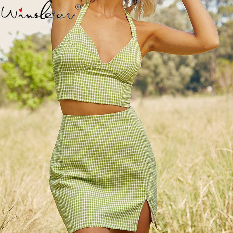 Böhmen High Street frauen Set Plaid Print Halter Tank Top + Rock Hohe Taille Mini 2 Stück Set Crop top Vestidos S08201W
