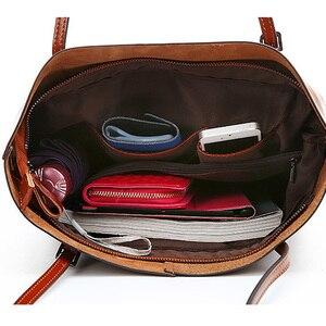Image 5 - Zency 100% Genuine Leather Vintage Women Shoulder Bag High Quality Fashion Brown Large Capacity Shopping Bags Black Tote Handbag