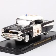 1/18 빅 스케일 자동차 클래식 올드 GM 1957 시보레 벨 에어 하드 톱 다이 캐스트 및 차량 금속 모델 경찰차 장난감 미니어처 보이