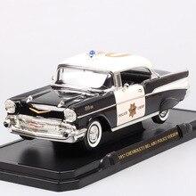 1/18 grande Escala carro velho clássico GM CHEVROLET 1957 BEL AIR HARDTOP diecast & veículos de brinquedo de Metal modelo de carros de POLÍCIA miniatura de menino
