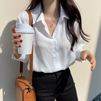 New Women's Shirt Classic Chiffon Blouse Female Plus Size Loose Long Sleeve Shirts Lady Simple Style Tops Clothes Blusas 6830 50 4