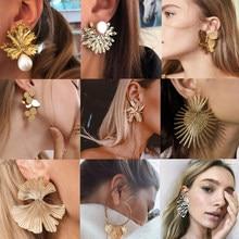 Tocona – boucles d'oreilles pour femmes, 15 styles, grandes fleurs charmantes, papillon or métal perle pierre feuille géométrique bijoux Pendiente