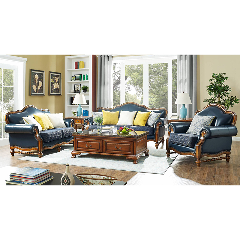 Navy Blue Leather Sofa For Living Room