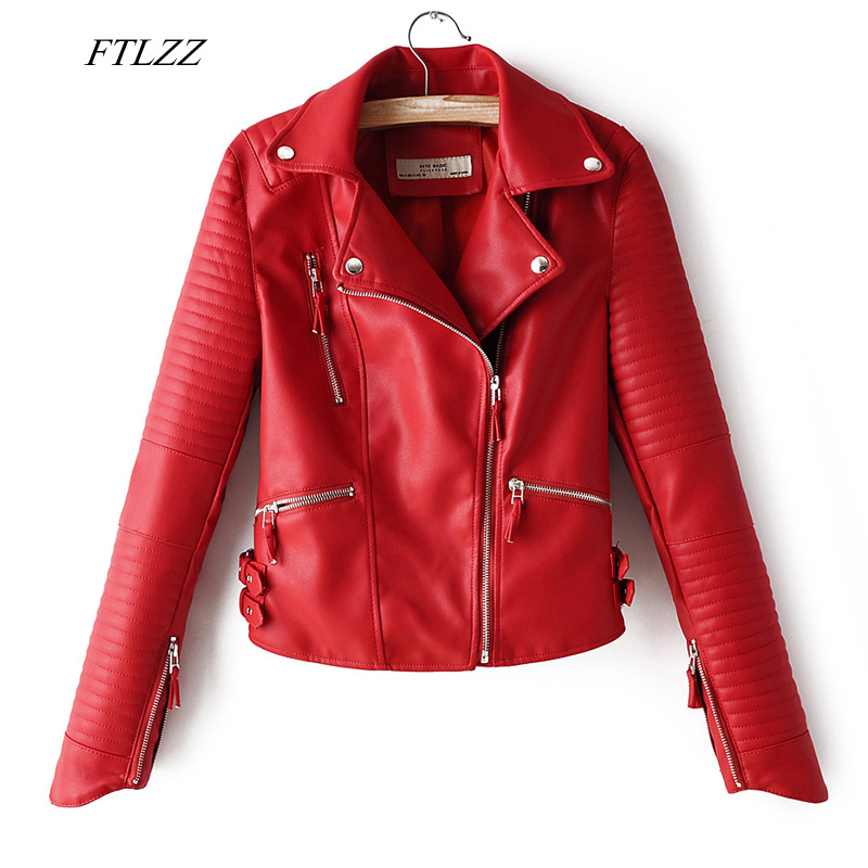 FTLZZ Autumn Women Faux Soft Leather Jacket Pu Motorcycle Zipper Rivet Coat Turndown Collar Black Red Pink Biker Leather Outwear