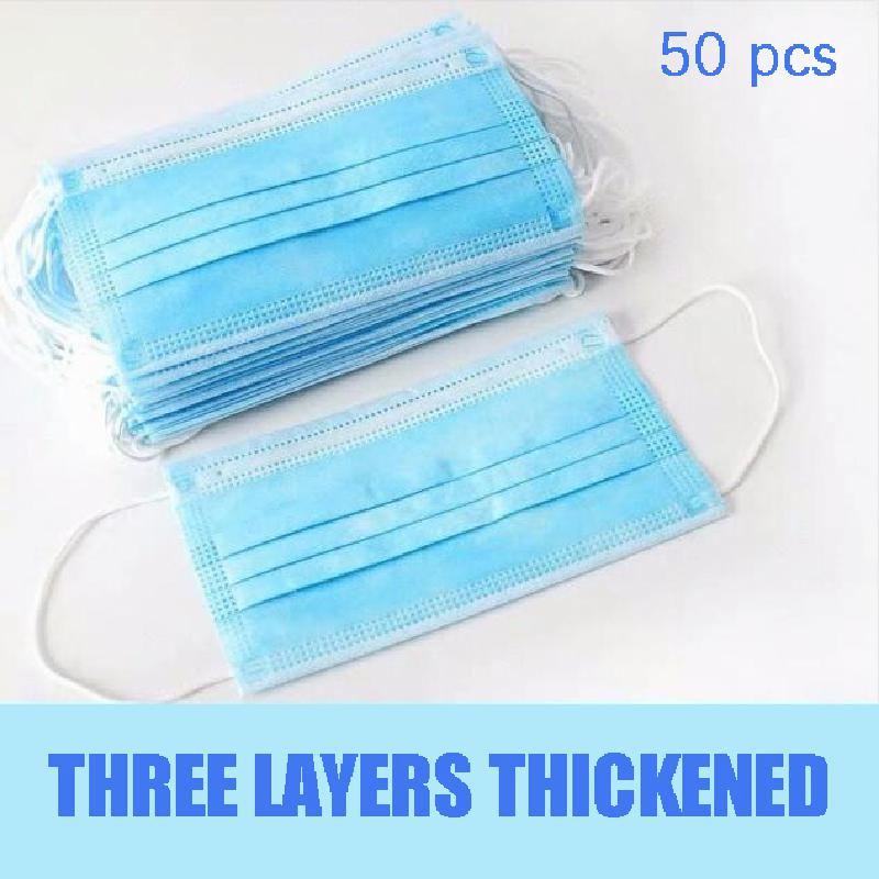 50Pcs/100pcs Mask Disposable Nonwove 3 Layer Ply Filter Mask mouth Face mask filter safe Breathable dustproof Protective masks 8