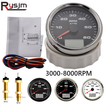 Universal 85mm Car Boat Tachometer Tacho Gauge 0-6000RPM 1-300 Speed Ratio Rev Counters with Trip Hour Meter 7 Colors Backlight 1pc new type 0 8000rpm tachometer gauges modification 85mm lcd revolution meters 9 32v rev counters with hourmeter for auto boat