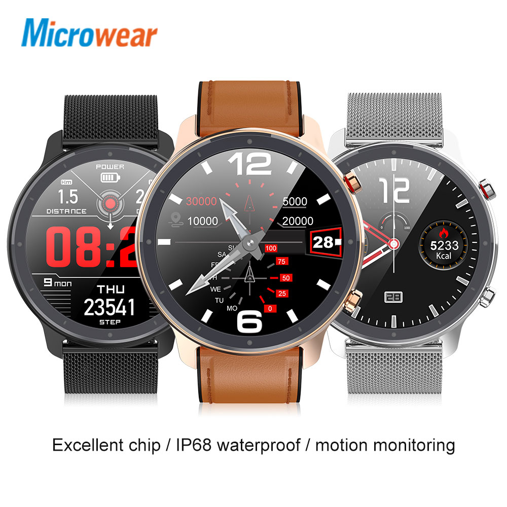 New Arrival Microwear L11 Smart Watch Full Touch Screen Sport Tracker Heart Rate Bluetooth Waterproof IP68 Men Smartwatch