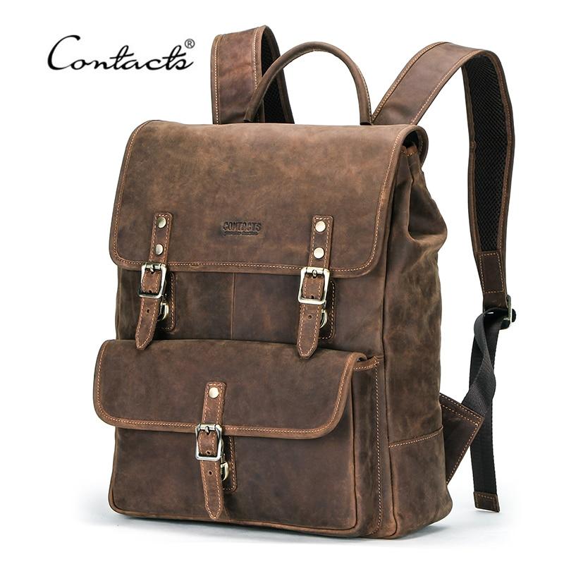 CONTACT'S NEW Business sacs à dos Crazy Horse sac à dos en cuir pour 13.3 pouces ordinateur portable Vintage hommes sacs de voyage qualité mâle Mochilas
