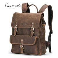 CONTACT'S nouveaux sacs à dos d'affaires Crazy Horse cuir sac à dos pour 13.3 pouces ordinateur portable Vintage hommes sacs de voyage qualité mâle Mochilas
