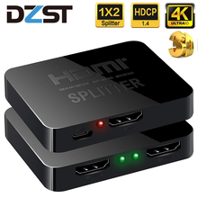 DZLST HDMI Splitter 4K Ultra HD TV Video 1X2 Split 1 in 2 Out Amplifier Dual Display For HDTV DVD PS3 Xbox HDMI Switch Switcher