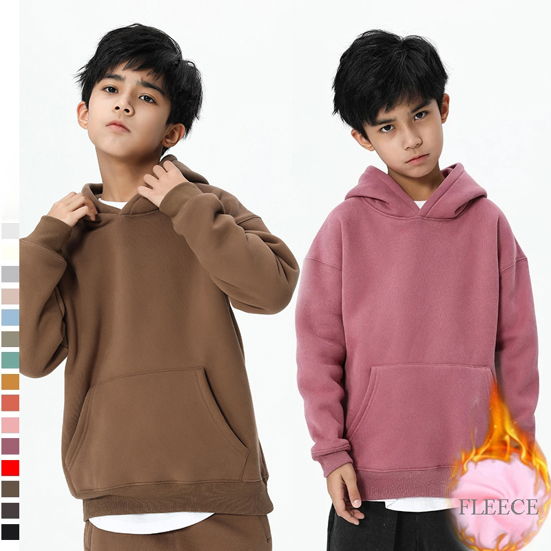 Toddler Kids Boys Girls Child Autumn Hooded Solid Thick Coat Sweatshirt Pullover