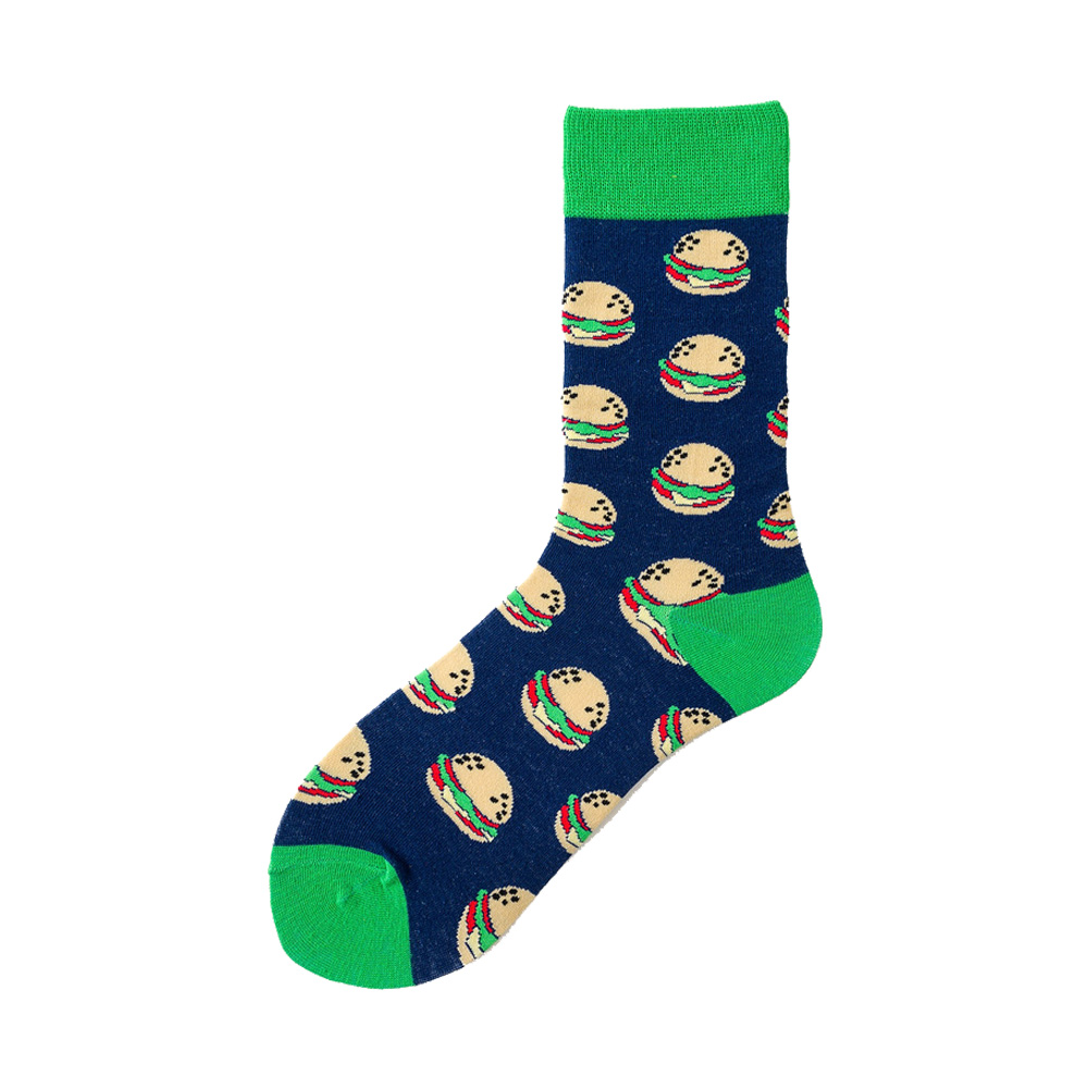 Novelty Happy Funny Men Graphic Socks Combed Cotton Omelette Frog Crazy Burger Salmon Corn Avocado Bird Fish Sock Christmas Gift 3