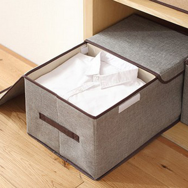 WSFS Hot 4 Pack Larger Storage Cubes Fabric Foldable Collapsible Storage Square Bin Organizer Basket with Lid Handles Removable 3