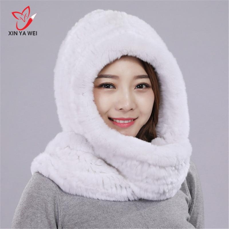 Rabbit Fur Hood Volume Hats For Women Winter Warm Novelty Knitted Fur Scarf Hat Stylish Fashionable Real Big Woman Fur Hat #-023