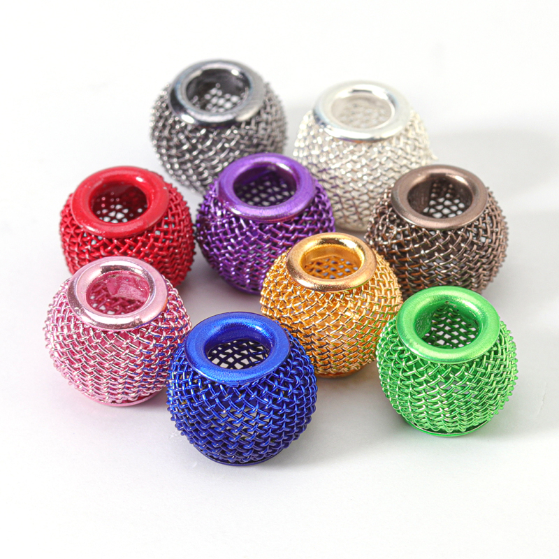 10 stücke Mixcolor Hohl Mesh Net Metall Spacer Perlen Big Loch Perlen für DIY Europäischen charme Armband Jewerlry erkenntnisse Großhandel