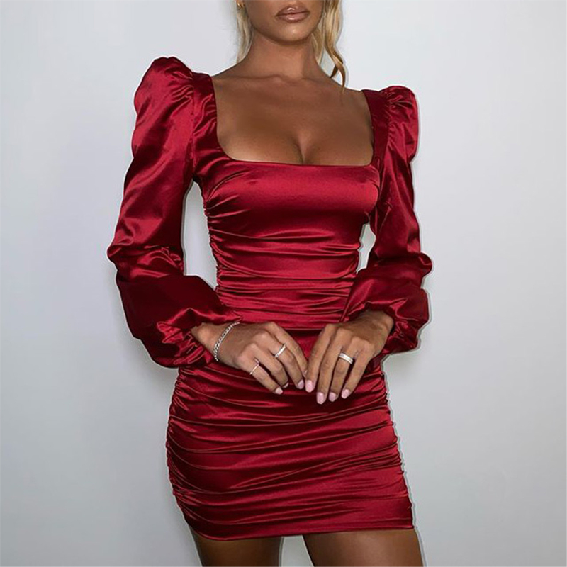 Articat New Satin Puff-Sleeve Ruched Dress For Women Solid Square Collar Sexy Dresses Ladies Streetwear Backless Zip Vestidos 1
