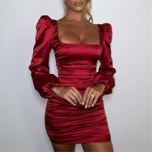 Articat yeni saten puf kollu dantelli elbise kadınlar için katı kare yaka seksi elbiseler bayanlar Streetwear Backless Zip Vestidos