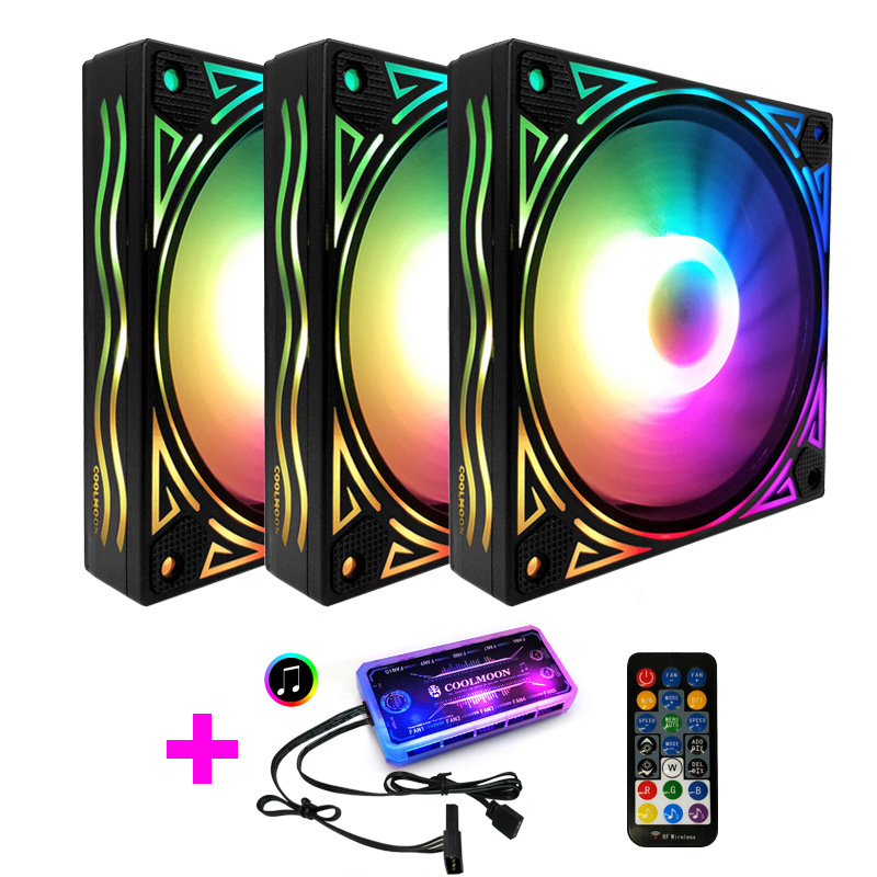 RGB Fan 12cm Chassis Case Fan Dor Desktop Computer RGB Cooling Fan Music Control Support MOBO 5V AURA SYNC Giant Wave Style