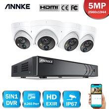 Annke 4ch 5mp lite sistema de segurança vídeo 5in1 h.265 + dvr com 4x 5mp pir detecção dome câmeras de vigilância à prova dwaterproof água cctv kit