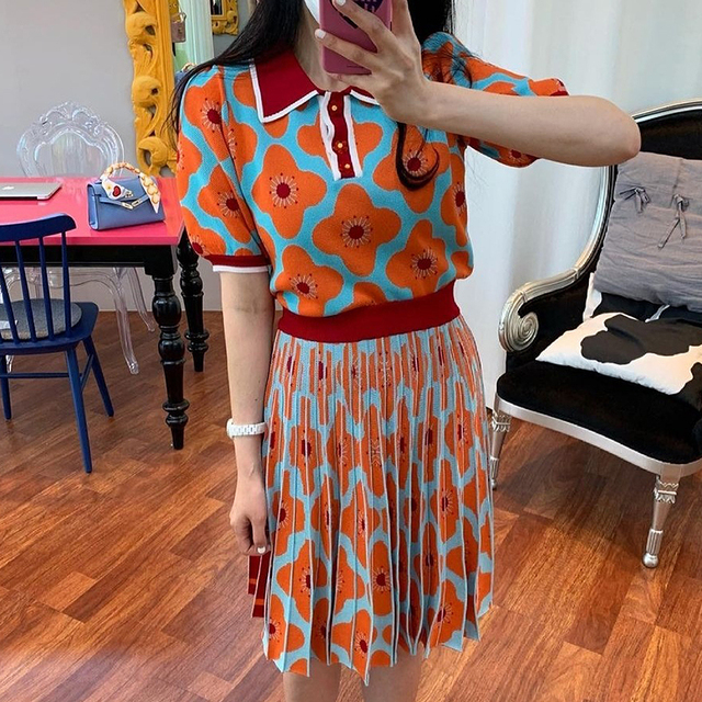 [EWQ] women Summer Retro Lapel Loose Puff Sleeve Sweater + High Waist Pleated Skirt Contrast Color Suit Fashion Casual16F08400 3