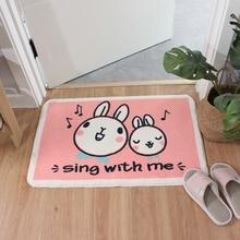 การ์ตูนกระต่ายสีชมพูพรมเช็ดเท้าพรมLatexด้านล่างเครื่องซักผ้าห้องน้ำห้องครัวพรมพรมในร่มEntrance FLOOR MAT